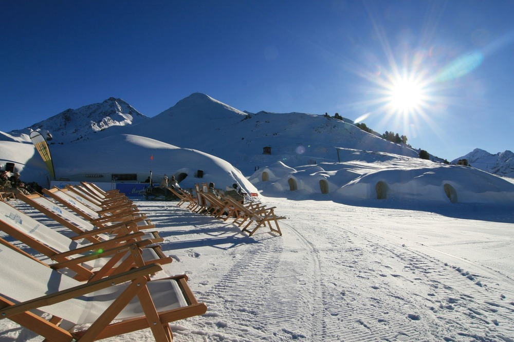 Chaise lounges awaiting visitors near the Ahornbahn at Mayrhofen, Austria.