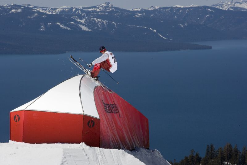 Rich Malowe performs a trick high above Heavenly Mountain Resort in South Lake Tahoe, California