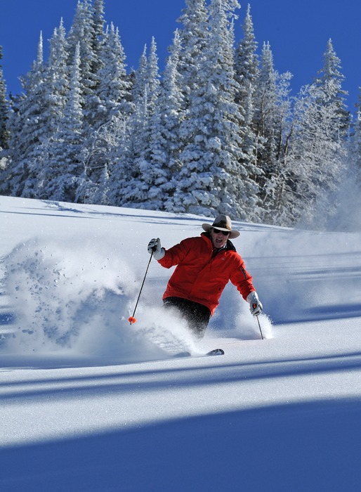 Skier in deep powder at Steamboat, Colorado