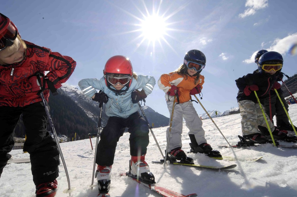 Kids taking a ski lesson in St. Anton, Austria