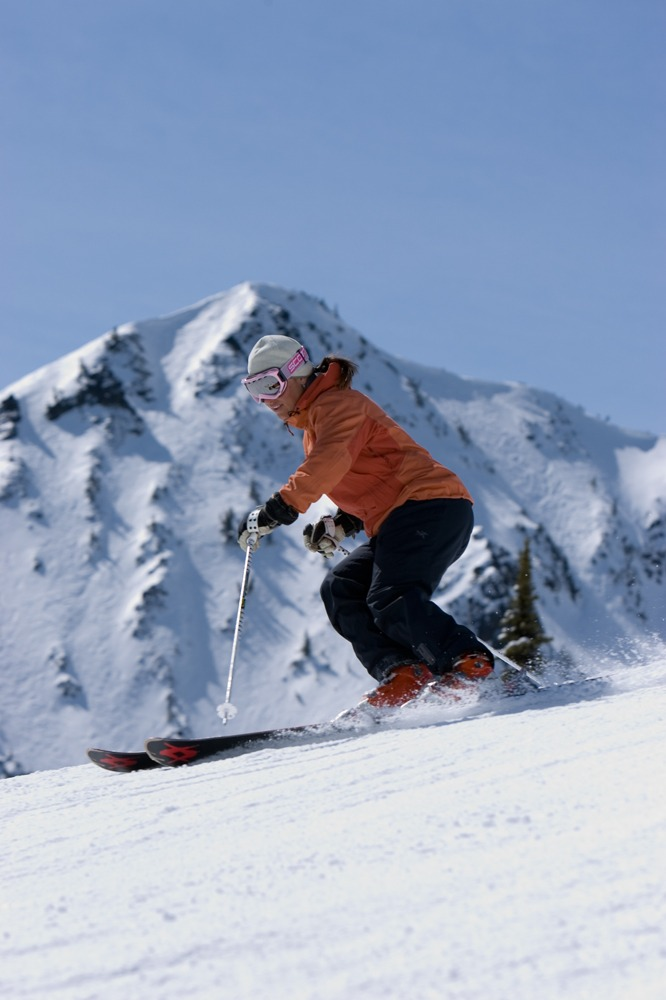 A skier descends Washington's Crystal Mountain. Photo courtesy of Crystal Mountain Resort.