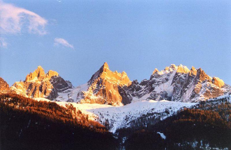 Snowcapped peaks over Chamonix