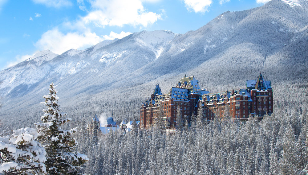 The Fairmont Banff Springs Hotel can serve as lodging while skiing three ski areas. Photo courtesy of Fairmont Banff Springs.