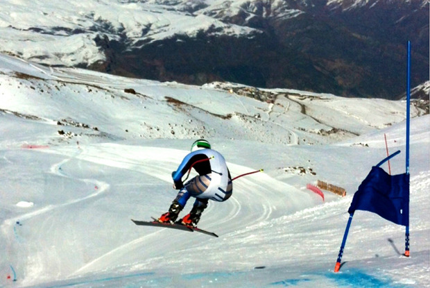 Ganong sends it off the first jump on the La Parva Super G course.  - ©Photo by Daron Rahlves.