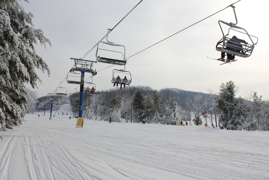 Riding the chairlift for fresh tracks at Liberty. Photo courtesy of LibertyMountain Resort.
