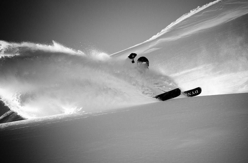 Tanner Rainville skiing in the Col de Cou.