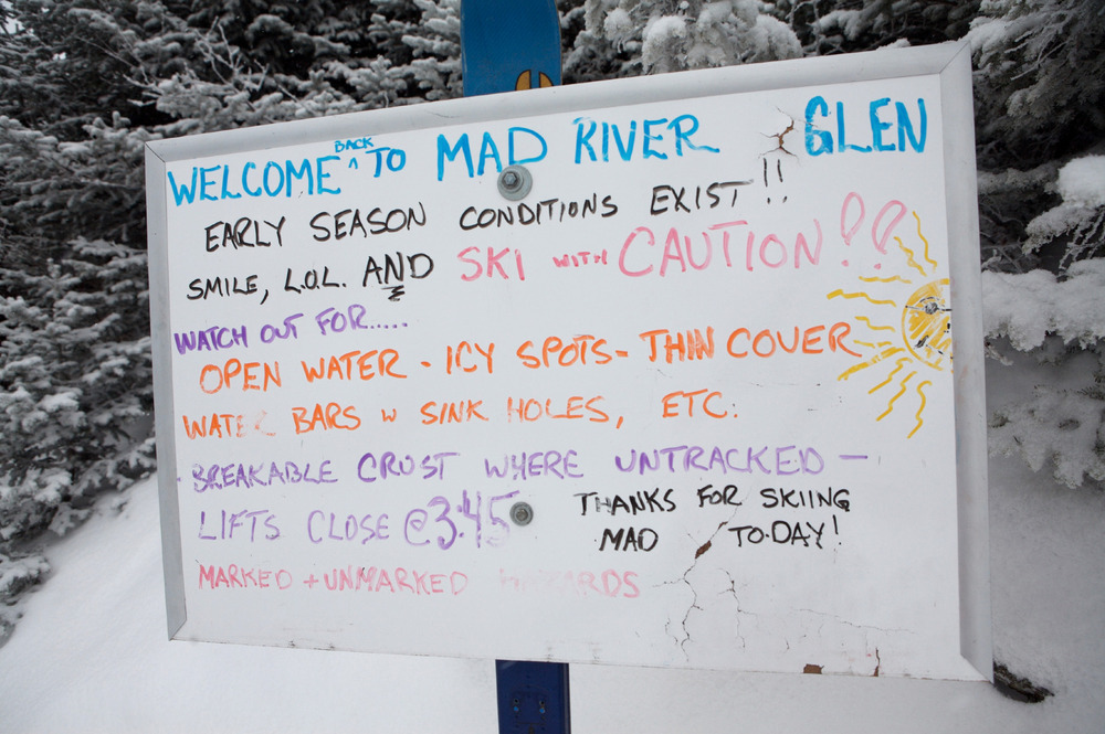 That's right. Open water, icy spots...sink holes! Welcome to Mad River Glen, Vermont. Natural snow skiing at its best.