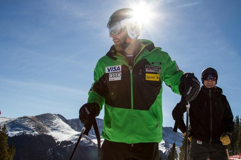 U.S. Ski Team Athlete Travis Ganong gets ready to tear down the course. - ©Liam Doran