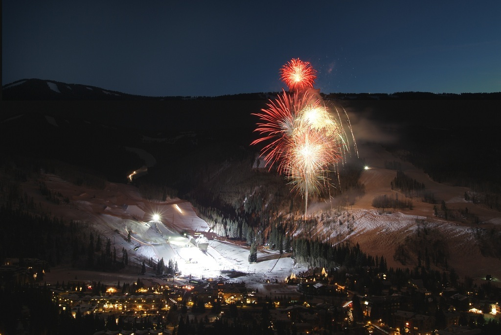 Fireworkds light up the sky over Vail Mountain. - ©Bob Winsett