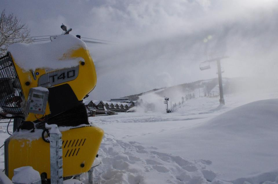 Snowmaking helps to increase the coverage at Park City Mountain Resort in time for opening day.