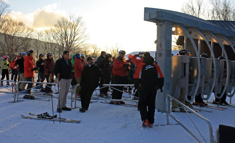 Eager skiers and riders await first chair at Stowe Mountain Resort on Saturday, Nov. 17. The resort was hard at work getting the hill ready to open, and great weather and conditions were enjoyed by all.