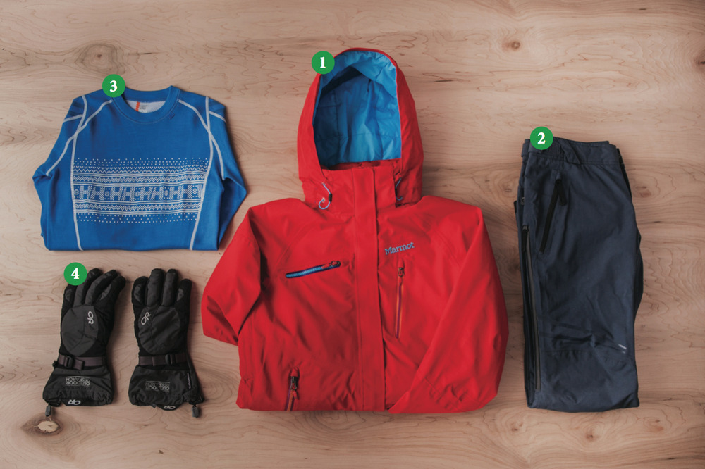 Women's Outfit #1: 1) Marmot Dawn Patrol; 2) Oakley Moving Pants; 3) Helly Hansen Warm Ice Crew; 4) Outdoor Research Ambit Gloves
