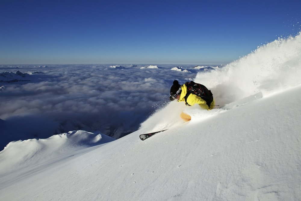 Powder skiing in Laax, Switzerland