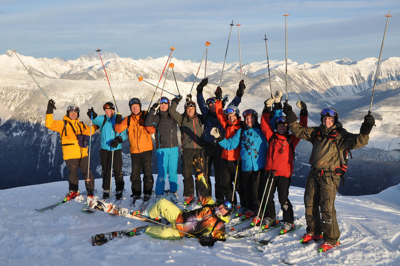 A happy group of Heli-Skiers at CMH-Heli Skiing