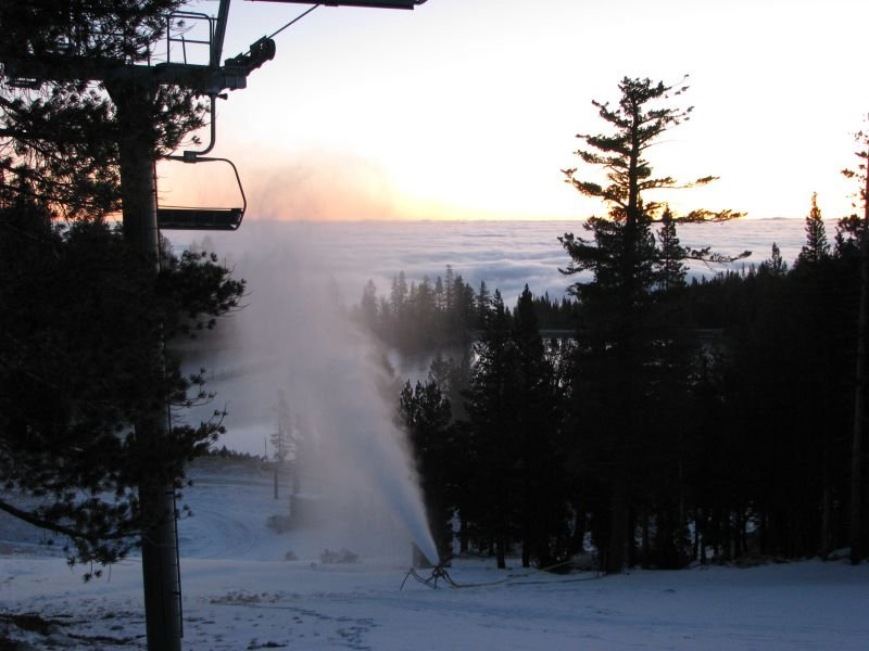 A snowmaking machine creates new snow at Heavenly Mountain Resort in South Lake Tahoe