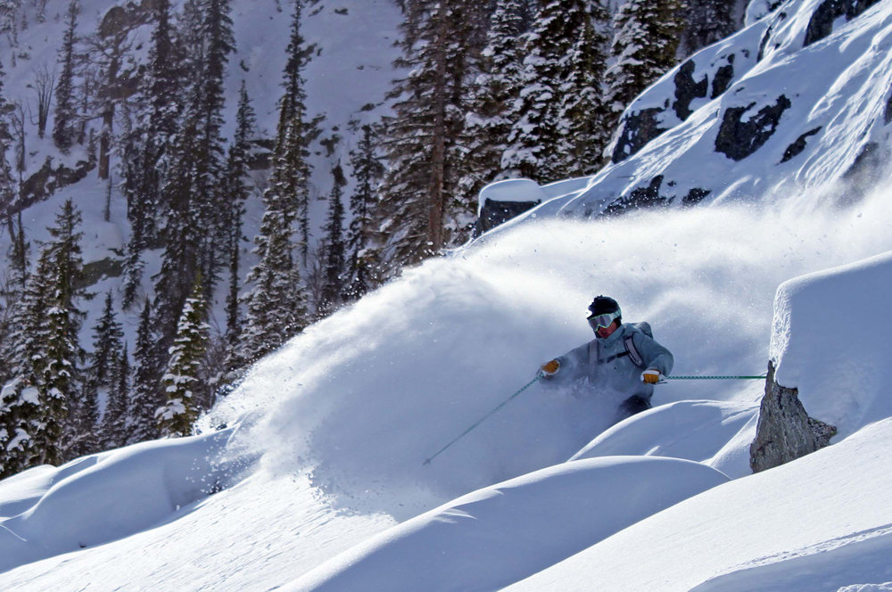 Catching the deep powder at Jackson Hole. Photo courtesy of Jackson Hole Mountain Resort.