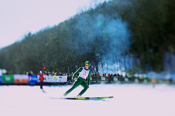 Hyrum Bailey from Park City, Utah coming to a stop after his jump.  Hyrum finished second in the Junior 1 meet.