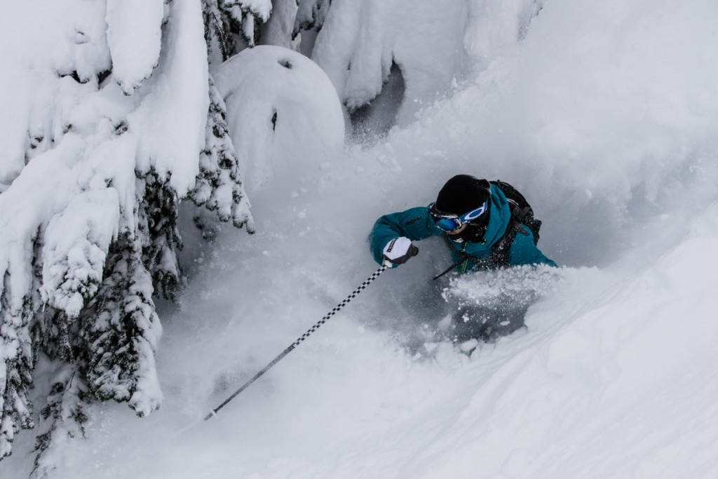 Chris Shalbot sinks deep in Stevens Pass trees.