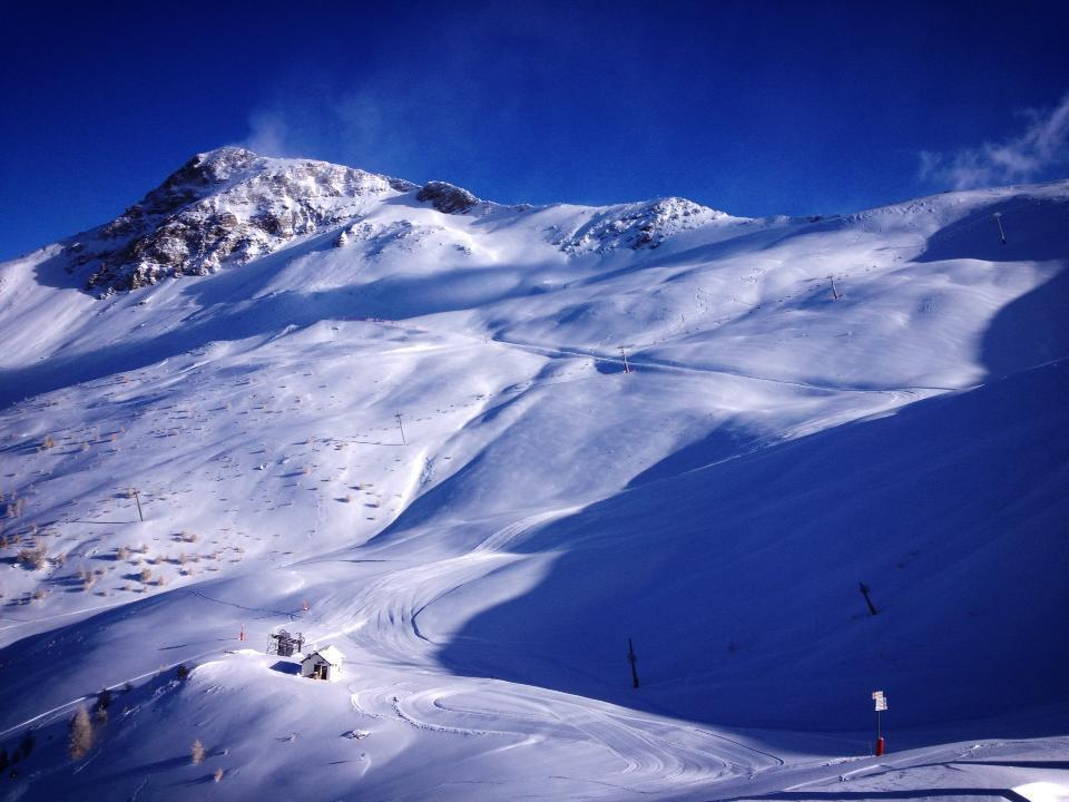 Snow-covered slopes in Les Orres. Dec. 8, 2012