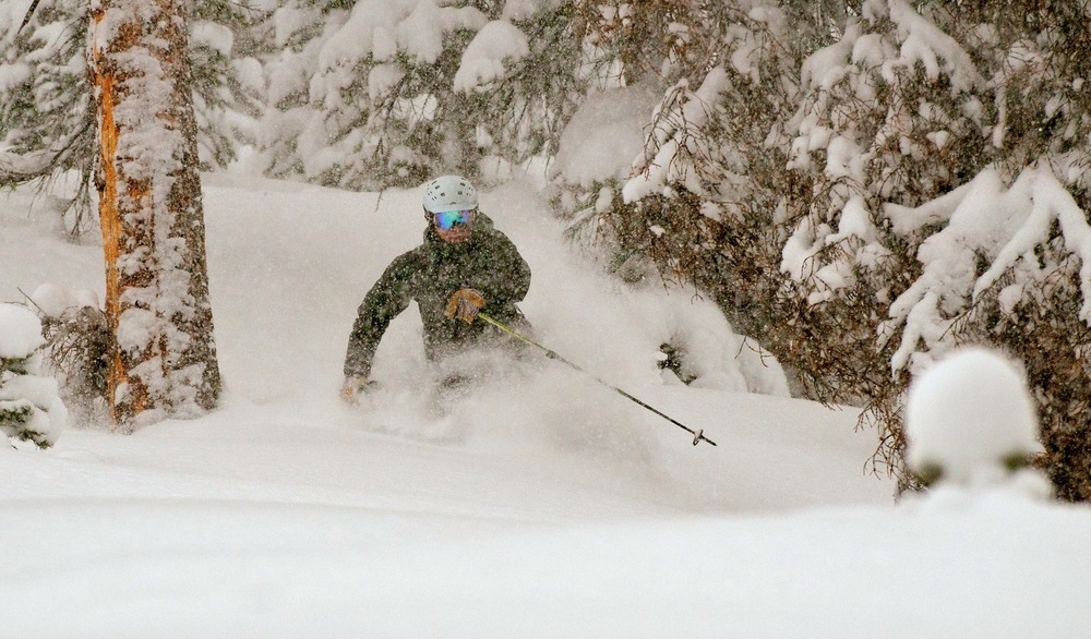 Shredding powder turns with Eric Rasmussen. - ©Josh Cooley