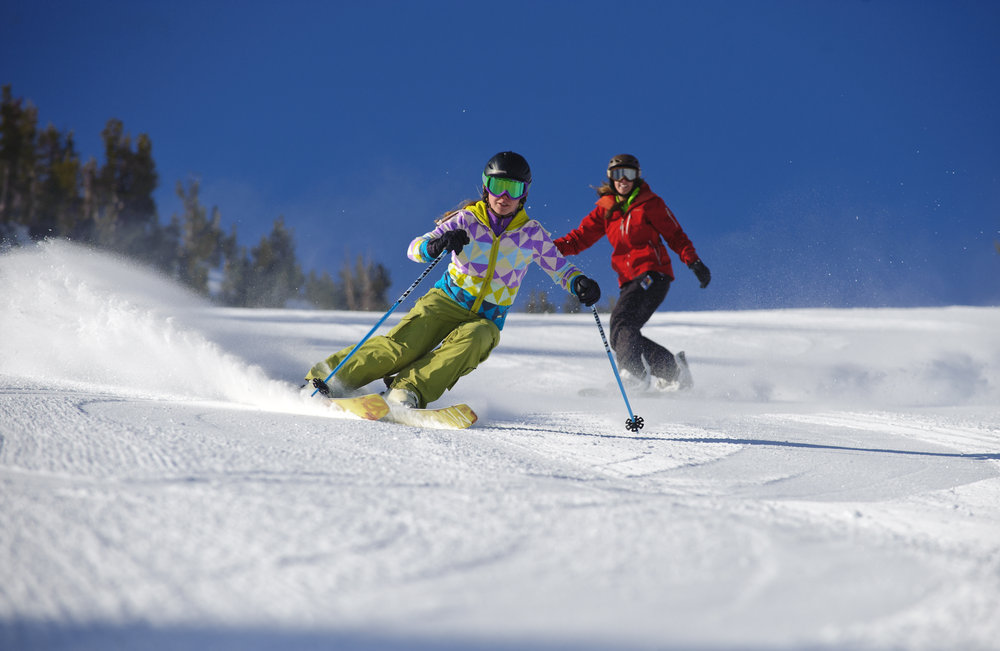 Siani Nau and Kayla Anderson carving up the groomers at Mt. Rose Ski Tahoe...Photo by Scott Sady