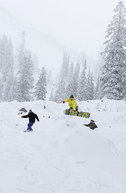 Friends are a good thing to have on a powder day at Brighton.