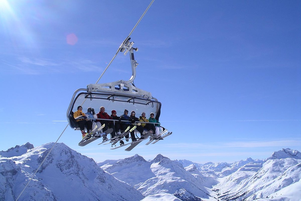 Lech's six seat chairlift.