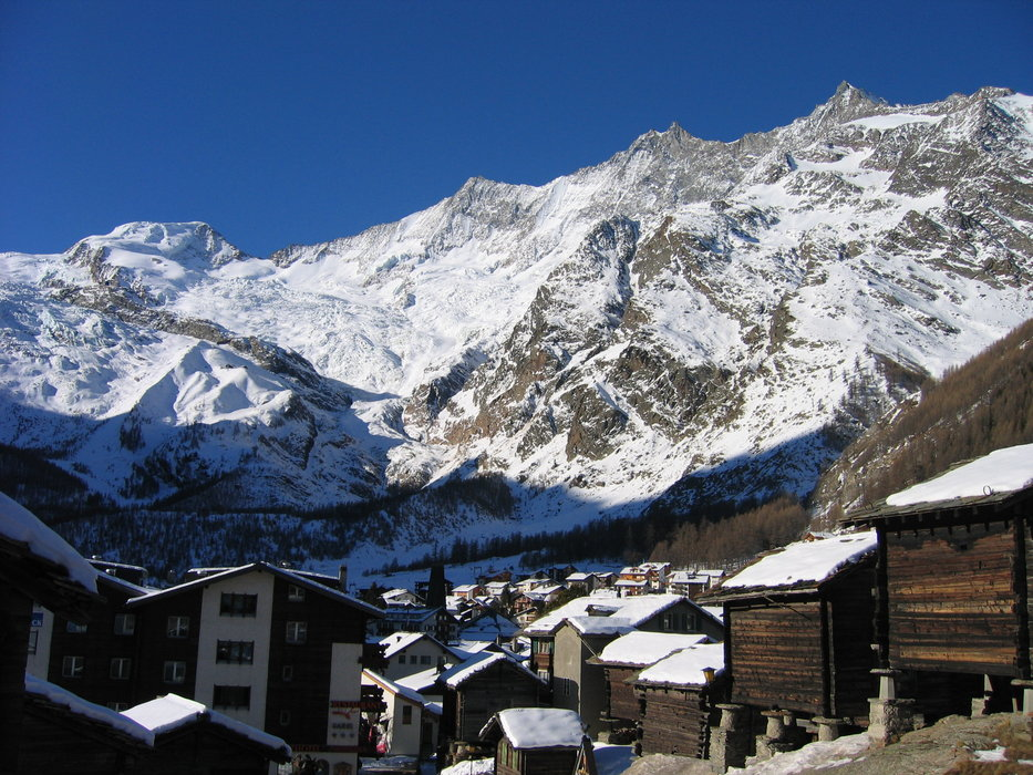 The village of Saas Fee with the Alps towering overhead.