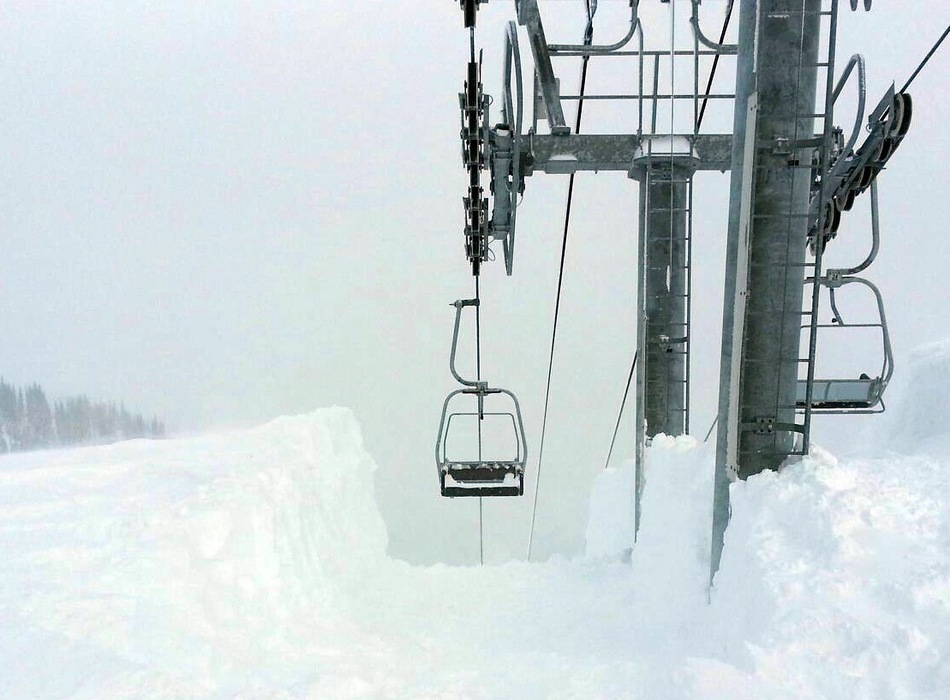 Deep snow at Northway Chairlift at Crystal Mountain, Washington. Photo by Jim Jarnigan, courtesy of Crystal Mountain Resort.