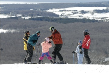 Family skiing at Nub's Nob.