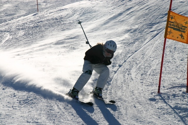 Skiing fast at Tyrol Basin.