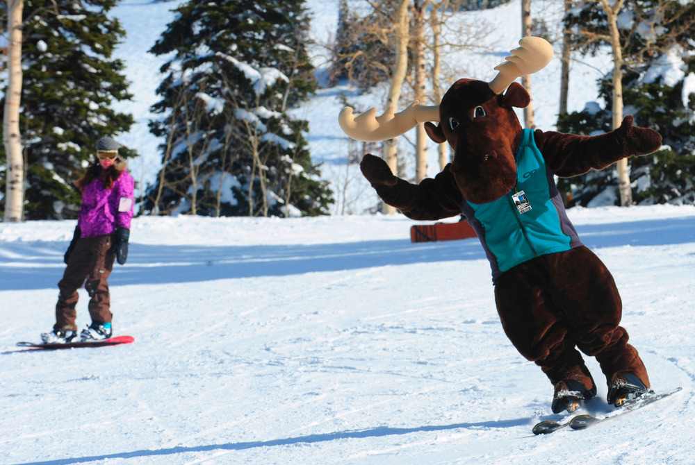 Grand Targhee moose mascot. Photo courtesy of Grand Targhee Resort.
