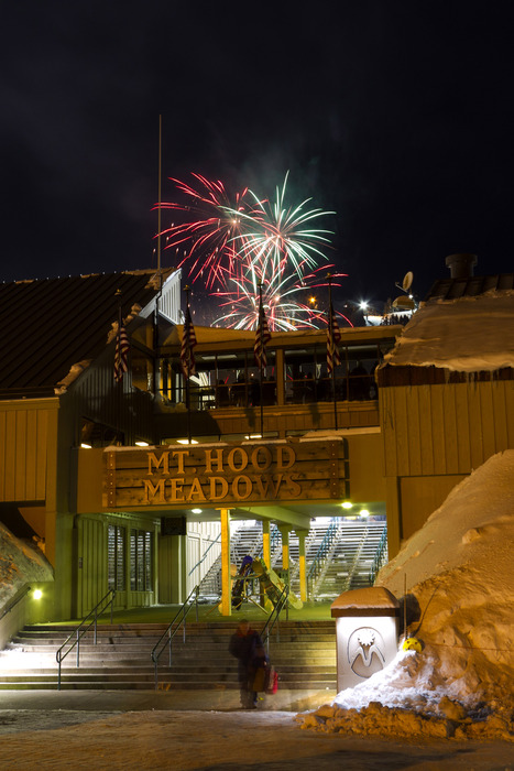Mt Hood Meadows New Year's Eve fireworks. Photo by Randy Boverman. Courtesy of Mt. Hood Meadows.