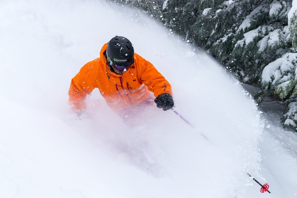 Powder day skiing at Mt. Hood Meadows. Photo by Randy Boverman, courtesy of Mt. Hood Meadows.