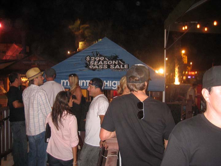 Visitors lining up for an early season pass sale at Mountain High, California.