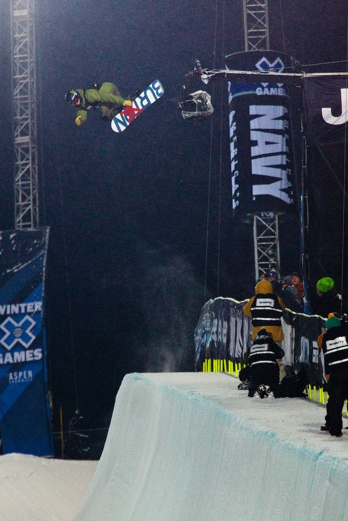 Going huge during the elimination round of Snowboard Superpipe.