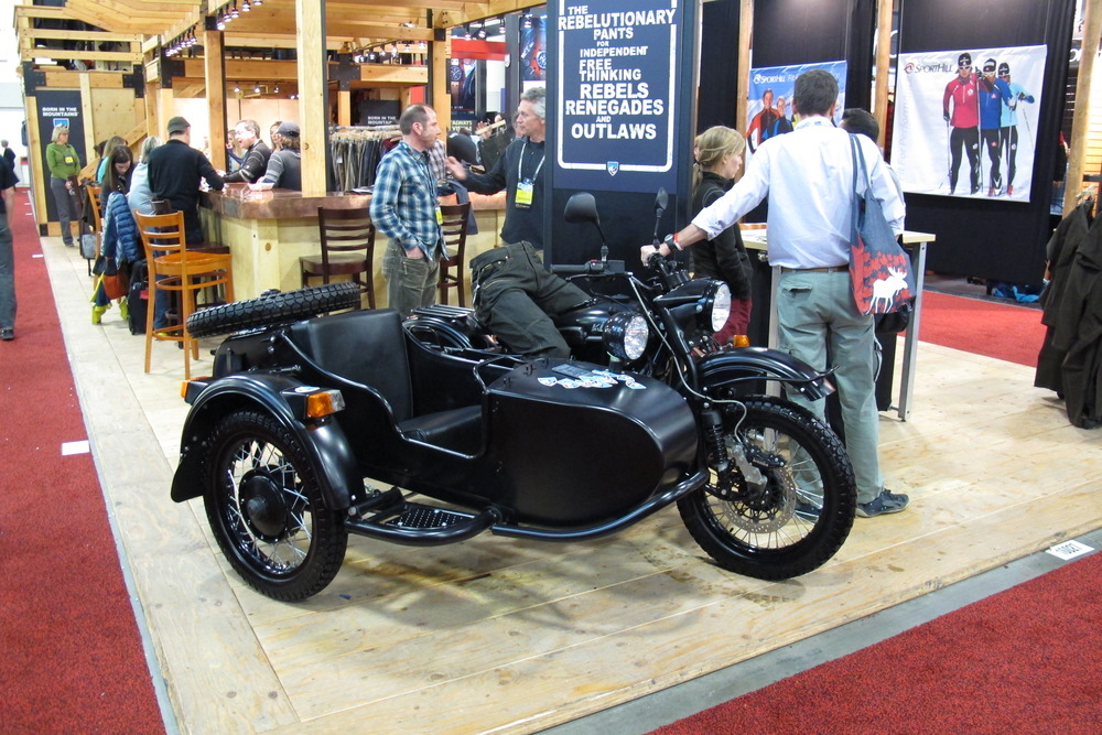 Whether by plane, train or automobile, brands descended on the Salt Palace Convention Center from far and wide. The boys from Kuhl USA used this badass old school motorcycle and sidecar to get to the show. - ©Dan Kasper
