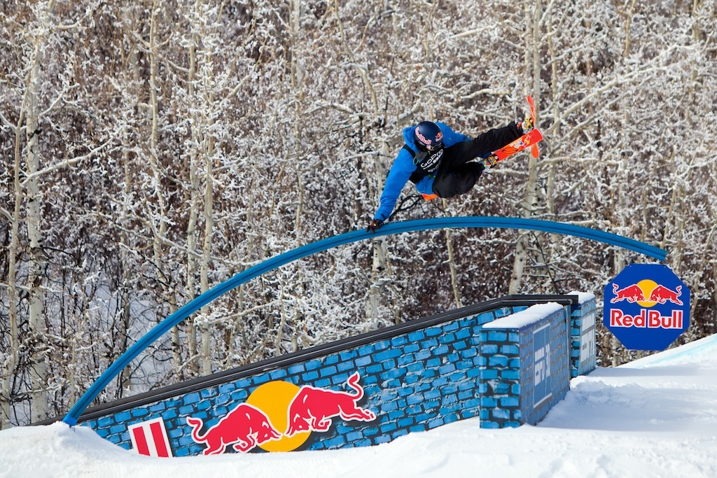 Mens Ski Slopestyle Final. Gold medalist Nick Goepper hits the rainbow rail.