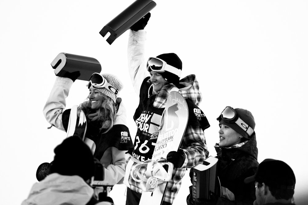 The women's superpipe podium sees Kelly Clark take the honors with Gretchen Bleiler and Xuetong Cai rounding out second and third places. Photo By Liam Doran