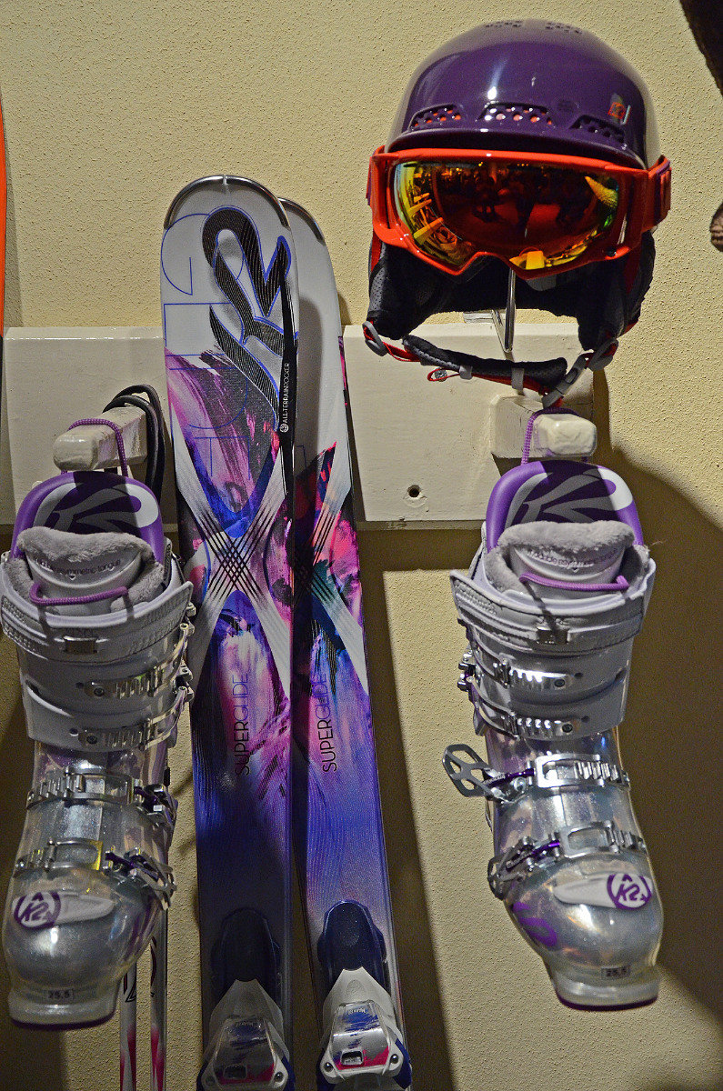 A complete K2 women's gear set: skis, boots, helmet and goggles