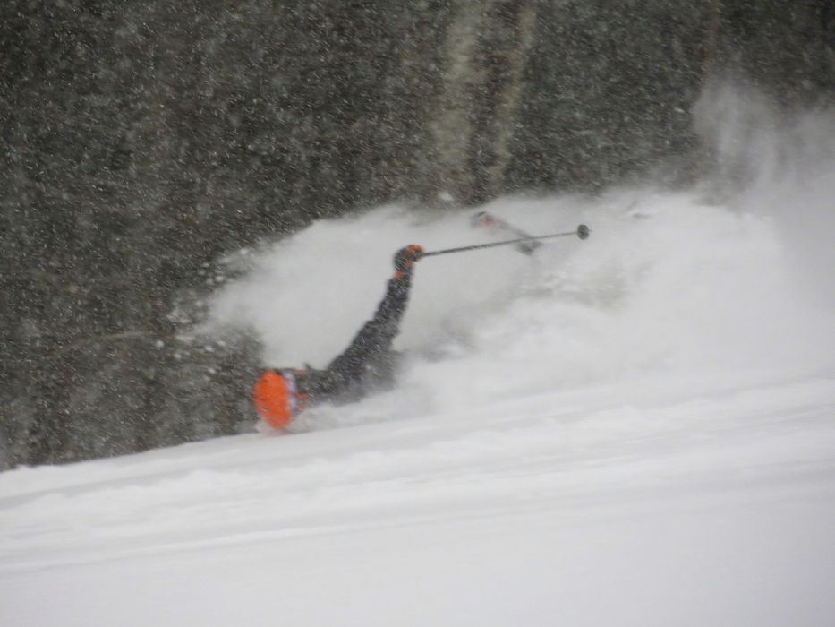 This skier takes a digger in the deep powder at Bretton Woods.