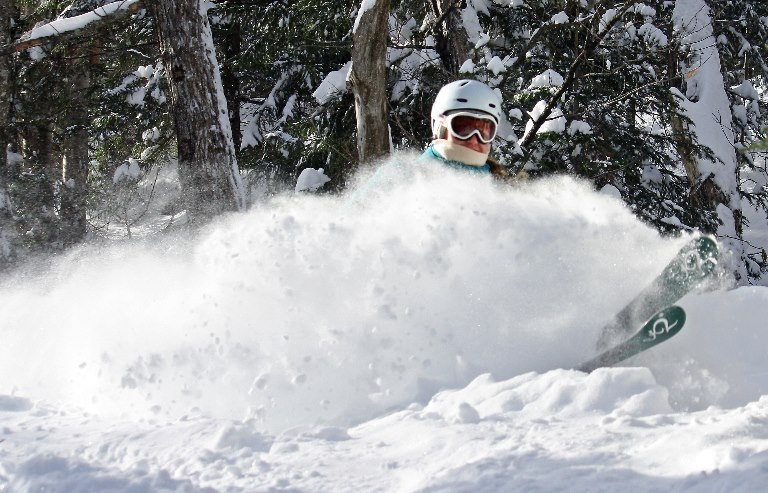 Powder skiing at Stowe Mountain Resort.