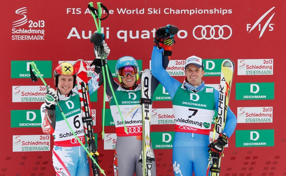 Marcel Hirscher (AUT), Ted Ligety (USA), Manfred Moelgg (ITA) - ©Swiss-Ski