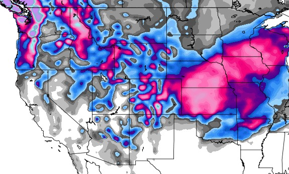 GFS Snowfall Forecast from 2/21 – 2/28