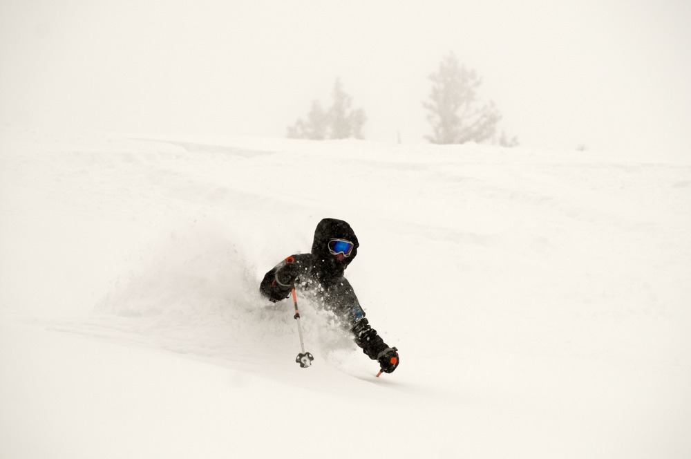 Skiing the Snowburn run.