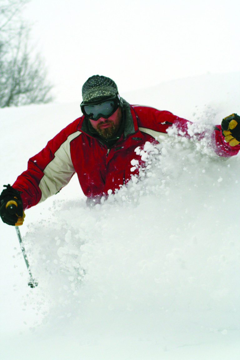 Powder day at Indianhead Mountain, Michigan.