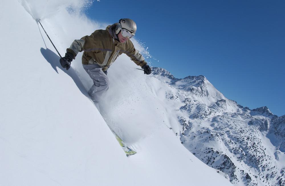 Powder skier in Grandvalira, Andorra
