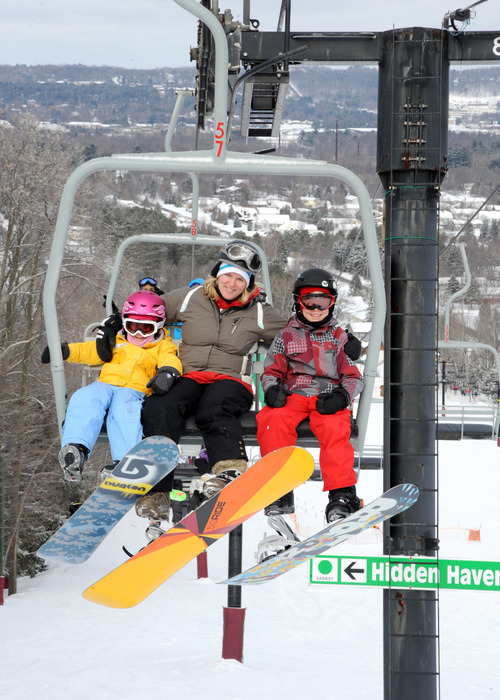 Family riding at the Granite Peak Ski Area.