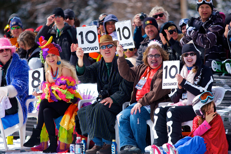 Judging Pond Skimming at Canyons Resort. - ©Rob Bossi