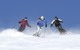 Mammoth Mountain, California skiers find their way down the mountain